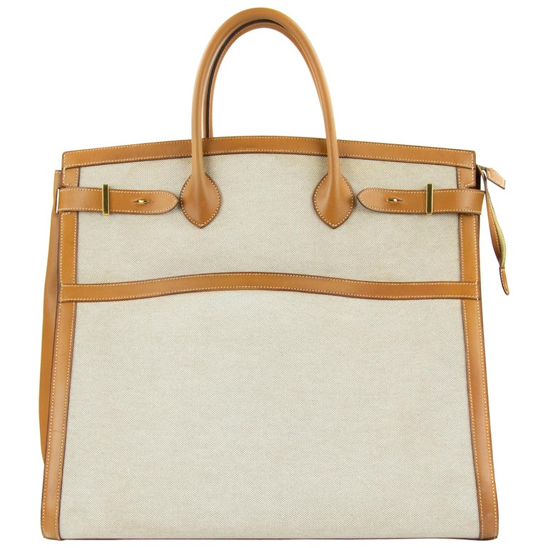 Hermes Toile and Vache Natural Weekend Bag GHW For Sale