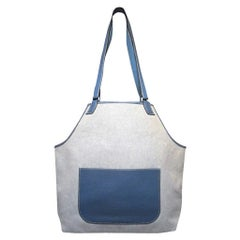 Hermes Toile Canvas Apron Shoulder Bag Tote