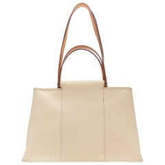 HERMES Toile H Cabag Elan Etoupe canvas tan leather expandable shoulder tote bag