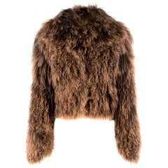 Hermes Tonal-Brown Curly Lamb Shearling Short Jacket FR 42