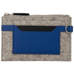 Hermes Toodoo Mini Colorblock Change Purse Gray Felt / Electric Blue / Black