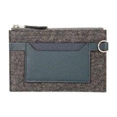 Hermes Toodoo Mini Colorblock Change Purse Gray Felt / Vert Cypress / Indigo