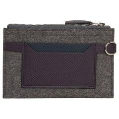 Hermes Toodoo Mini Colorblock Change Purse in Grey / Purple / Black New w/Box
