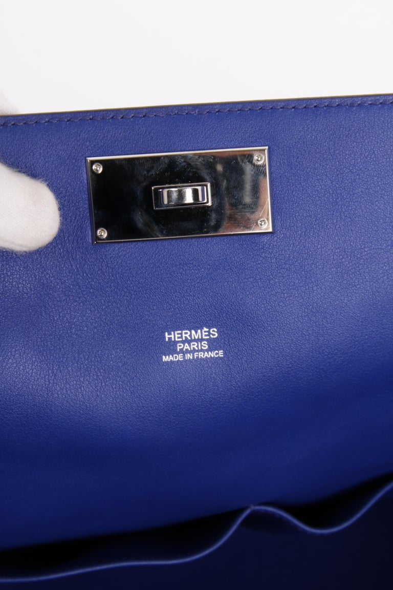 Hermes Toolbox 26 Swift Leather Electric Blue For Sale 7