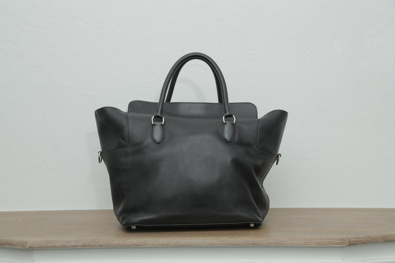Women's or Men's Hermès Toolbox 33 with Silver Hardware Black Leather Weekend/Travel Bag For Sale