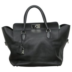Hermès Toolbox 33 with Silver Hardware Black Leather Weekend/Travel Bag