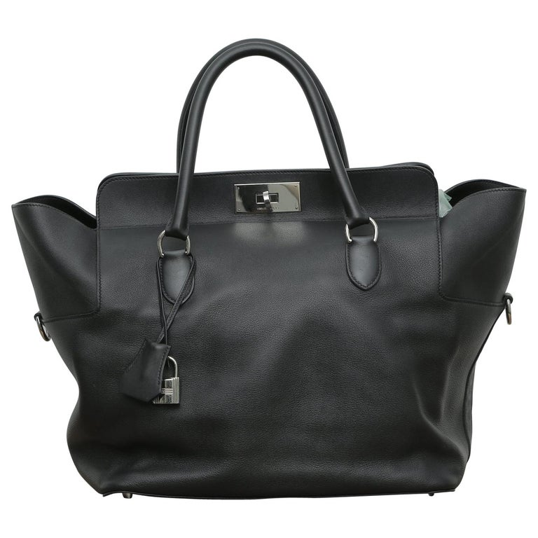 Hermès Toolbox 33 with Silver Hardware Black Leather Weekend/Travel Bag For Sale