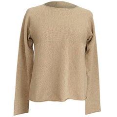 Hermes Top Cashmere Sweater Classic WheatTan w/ Subtle Knit Detail Size M