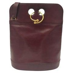 HERMÈS Torque Shoulder bag in Burgundy Leather