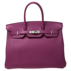 Hermes Tosca Togo Leather Palladium Hardware Birkin 35 Bag