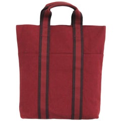 HERMES Tote Bag in Red H Canvas with Red and Dark Purples Strips