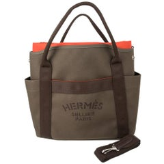 Hermes Tote Sac de Pansage Groom Boot and Helmet Bag Khaki / Feu new