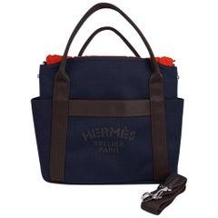Hermes Tote Sac de Pansage The Grooming Bag Navyi / Feu new