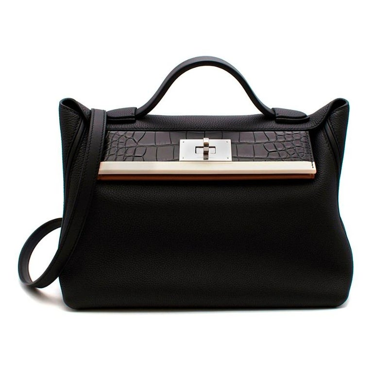 Hermes Touch 24-24 29 Bag in Black Togo & Alligator Leather PHW  - Age Y - 2020 - Black Togo Leather Body Alligator Mississippiensis Matte Black flap with a craie swift leather stripe - Gold Swift Leather under panel & Black Swift leather lining -