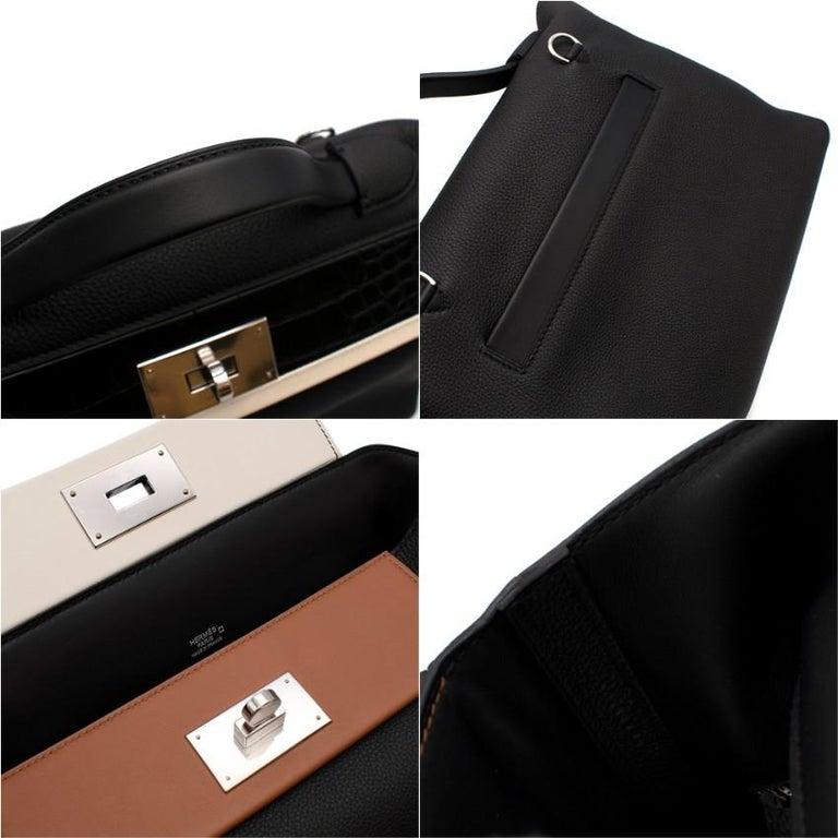 Hermes Touch 24-24 29 Bag in Black Togo/Matte Alligator PHW  For Sale 2