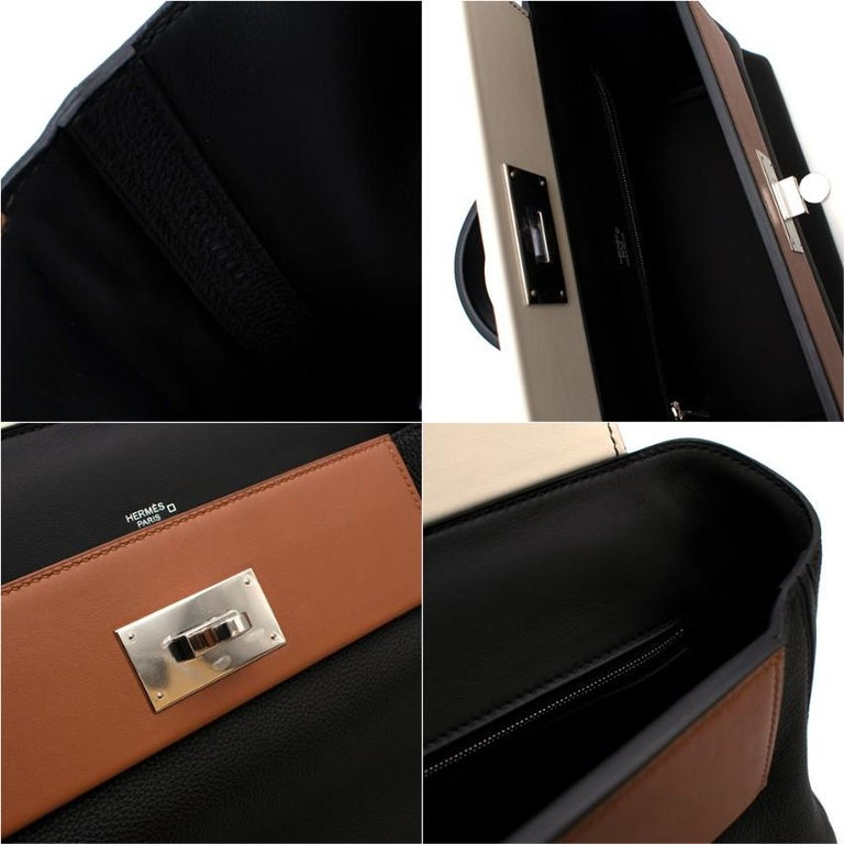 Hermes Touch 24-24 29 Bag in Black Togo/Matte Alligator PHW  For Sale 4