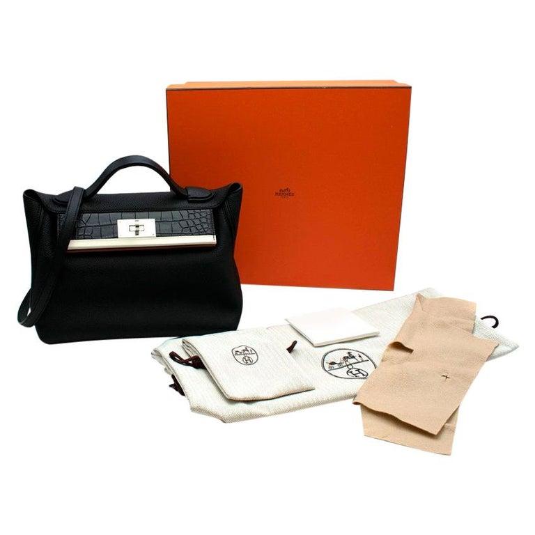 Hermes Touch 24-24 29 Bag in Black Togo/Matte Alligator PHW  For Sale
