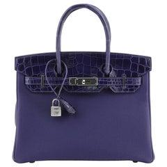 Hermes Touch Birkin Handbag Bleu Encre Togo with Shiny Niloticus Crocodile
