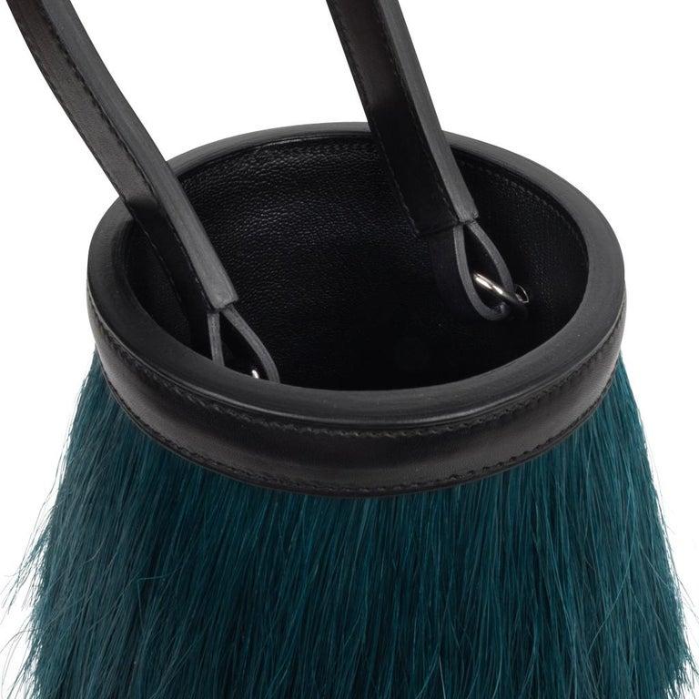 Women's Hermes Toupet Bag Fringed Mini Bucket Horse Hair Vert Fonce Black Evercalf For Sale