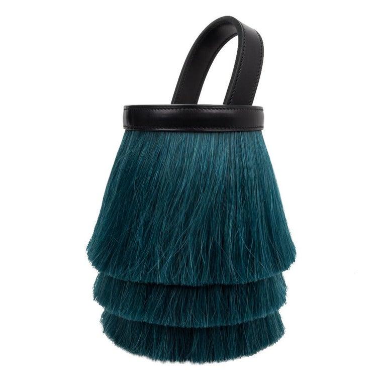 Hermes Toupet Bag Fringed Mini Bucket Horse Hair Vert Fonce Black Evercalf For Sale 1