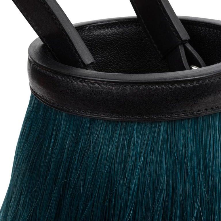 Hermes Toupet Bag Fringed Mini Bucket Horse Hair Vert Fonce Black Evercalf For Sale 2