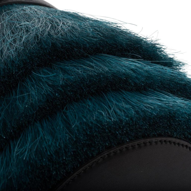 Hermes Toupet Bag Fringed Mini Bucket Horse Hair Vert Fonce Black Evercalf For Sale 3