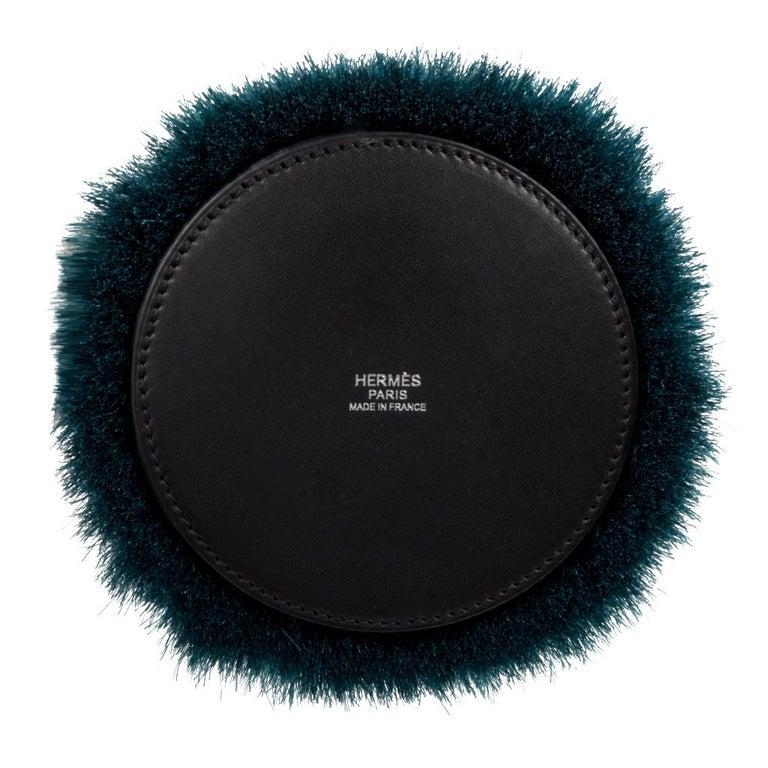 Hermes Toupet Bag Fringed Mini Bucket Horse Hair Vert Fonce Black Evercalf For Sale 4