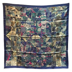 Hermes Tout En Quilt Silk Scarf in Navy