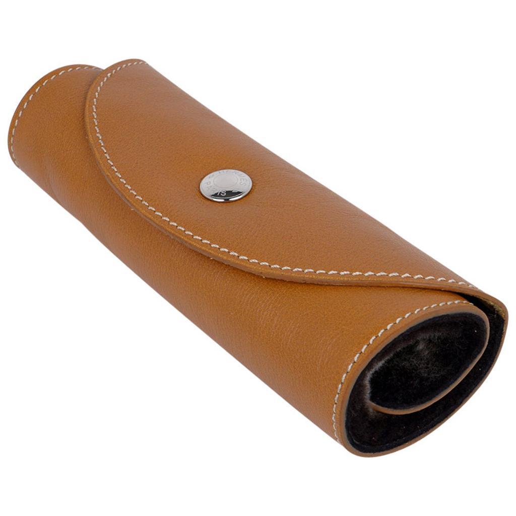 Hermes Travel Shoe Shine Glove Gold Swift Leather / Fur Rare New w/Box