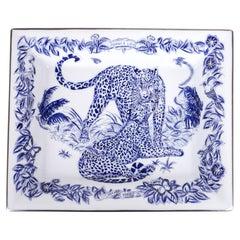 Hermes Tray Jungle Love Blue / White / Silver New w/Box