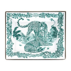 Hermes Tray Jungle Love Emerald Limoges Porcelain New w/ Box