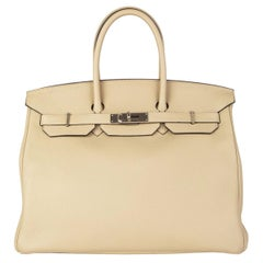 HERMES Trench beige & Palladium leather BIRKIN 35 Tote Bag