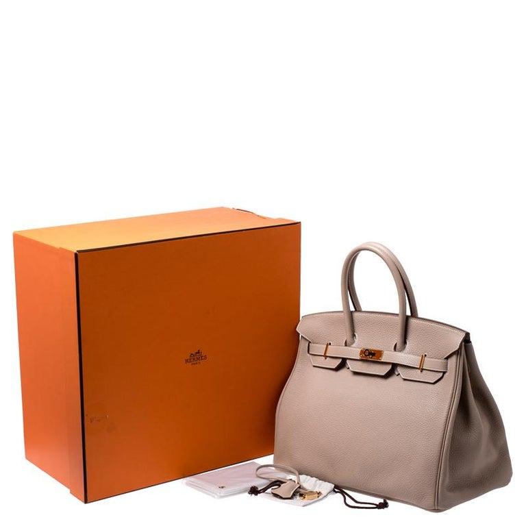Hermes Trench Togo Leather Gold Hardware Birkin 35 Bag For Sale 7