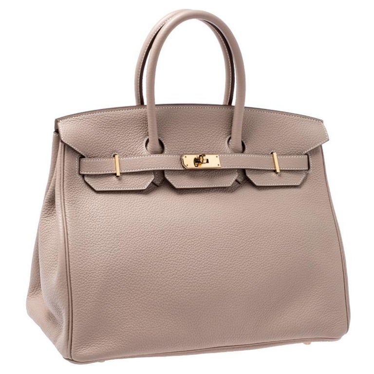 Hermes Trench Togo Leather Gold Hardware Birkin 35 Bag In Excellent Condition For Sale In Dubai, Al Qouz 2