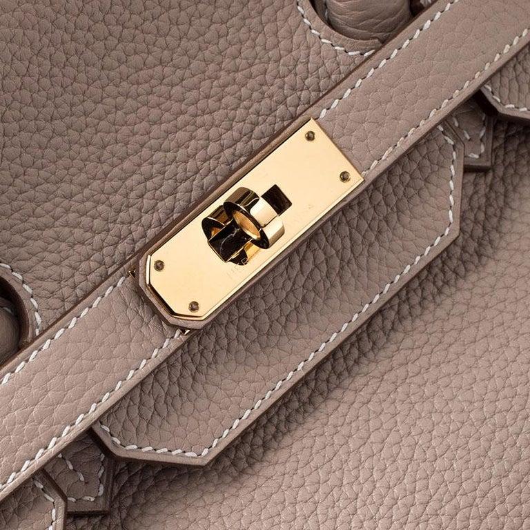 Hermes Trench Togo Leather Gold Hardware Birkin 35 Bag For Sale 3