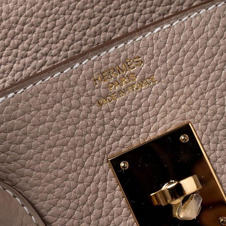 Hermes Trench Togo Leather Gold Hardware Birkin 35 Bag For Sale 4