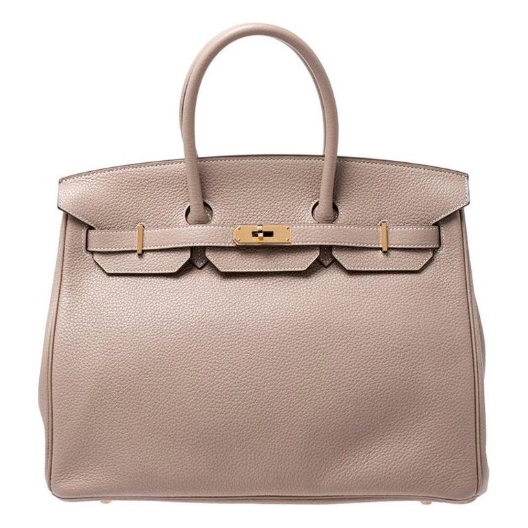 Hermes Trench Togo Leather Gold Hardware Birkin 35 Bag For Sale