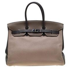 Hermes Tri Color Togo Leather Palladium Hardware Birkin 35 Bag