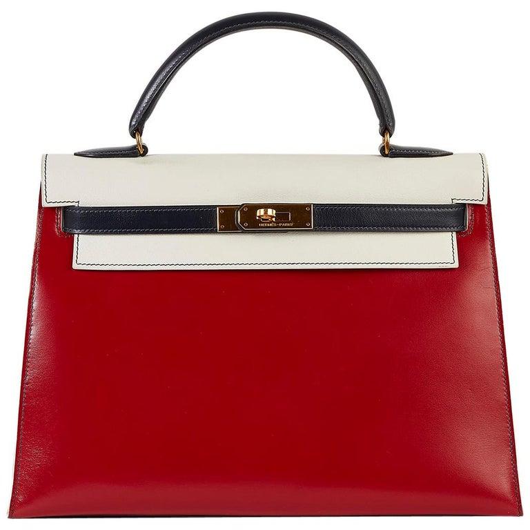 Hermès Tri-Colour Sellier 32cm Kelly Bag For Sale