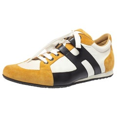 Hermes Tricolor Leather And Suede Tie Break Low Top Sneakers Size 41