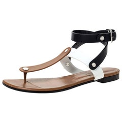Hermes Tricolor Leather Ankle Wrap Flat Sandals Size 36