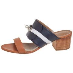 Hermès Tricolor Leather Ovation Slide Sandals Size 39