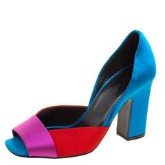 Hermes Tricolor Satin Block Heel Peep Toe D'orsay Pumps Size 37
