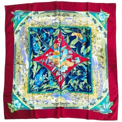 """Hermes Tropiques Silk Twill Scarf by Laurence Bourthoumieux 36"""" x 36"""""""