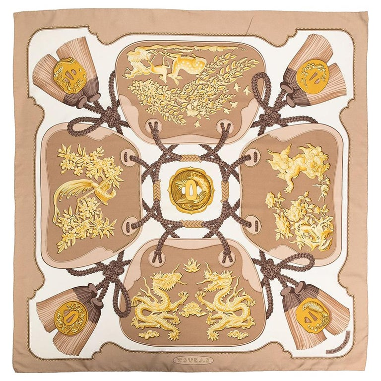 Hermes Tsubas by Christiane Vauzelles Beige Silk Scarf For Sale