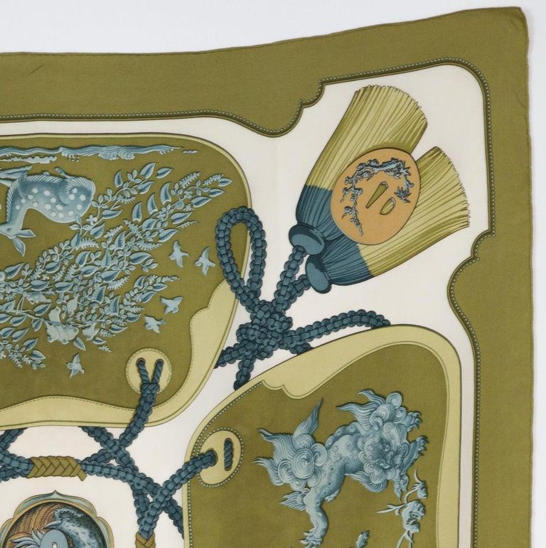Hermes Tsubas by Christiane Vauzelles Khaki Silk Scarf In Good Condition For Sale In Paris, FR