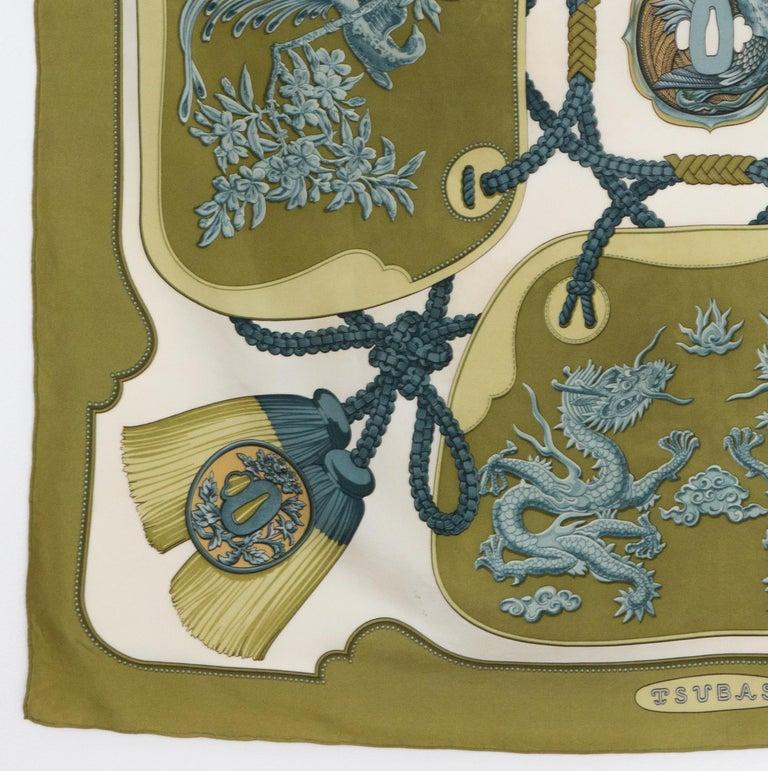 Women's or Men's Hermes Tsubas by Christiane Vauzelles Khaki Silk Scarf For Sale