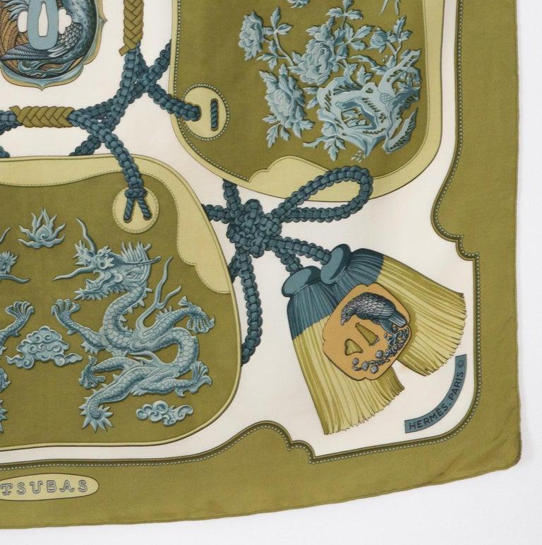 Hermes Tsubas by Christiane Vauzelles Khaki Silk Scarf For Sale 1