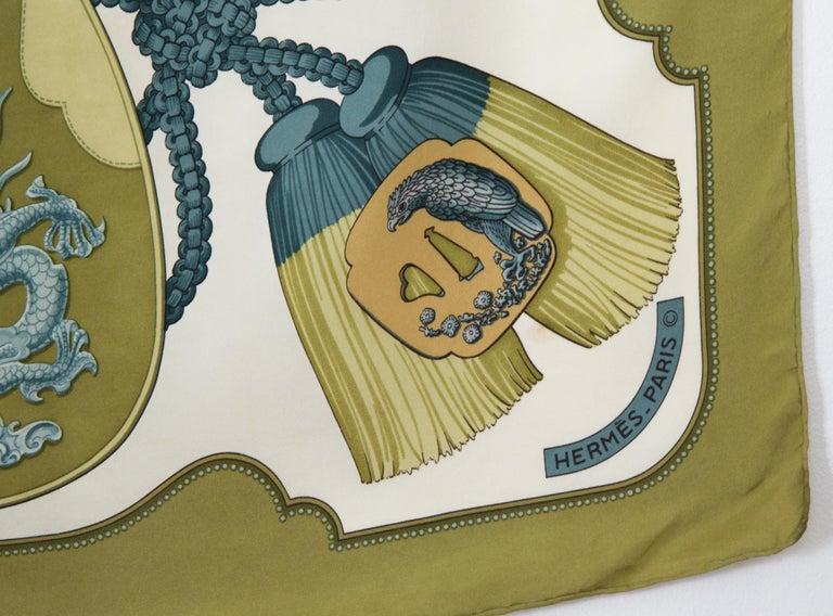 Hermes Tsubas by Christiane Vauzelles Khaki Silk Scarf For Sale 2