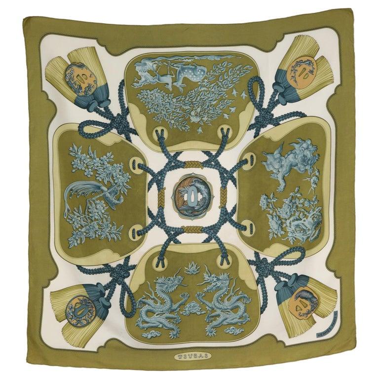 Hermes Tsubas by Christiane Vauzelles Khaki Silk Scarf For Sale